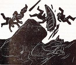 træsnit af Sven Havsteen-Mikkelsen til Moby-Dick